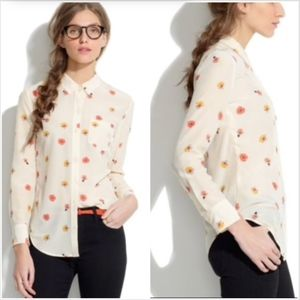 Madewell silk top watercolor floral poppy print